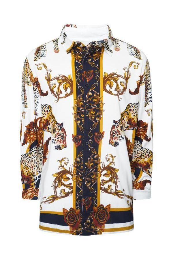 Leopard Baroque Long Sleeve Silky Shirt White