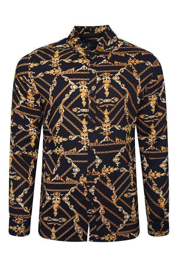 Long Sleeve Baroque Shirt Black