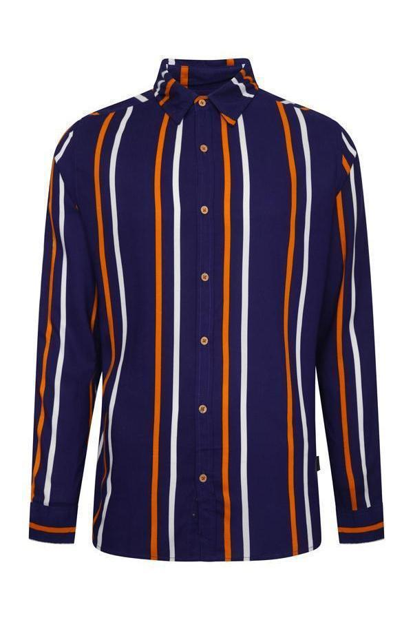 Long Sleeve Stripe Shirt Navy/ Orange