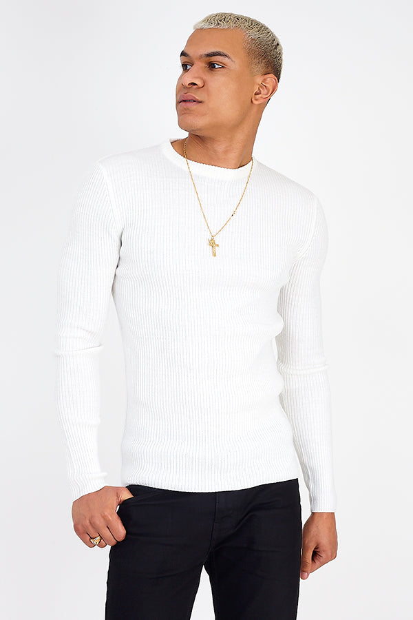 Muscle Fit Knit White