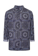 Load image into Gallery viewer, Paisley Silky Long Sleeve Shirt Navy