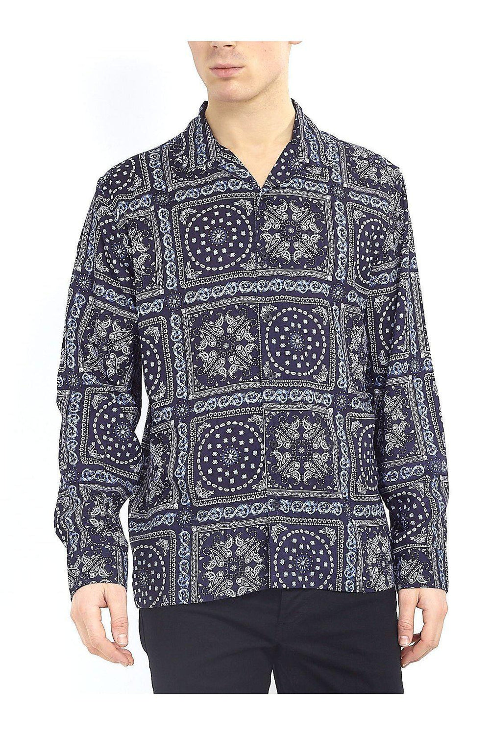 Paisley Silky Long Sleeve Shirt Navy