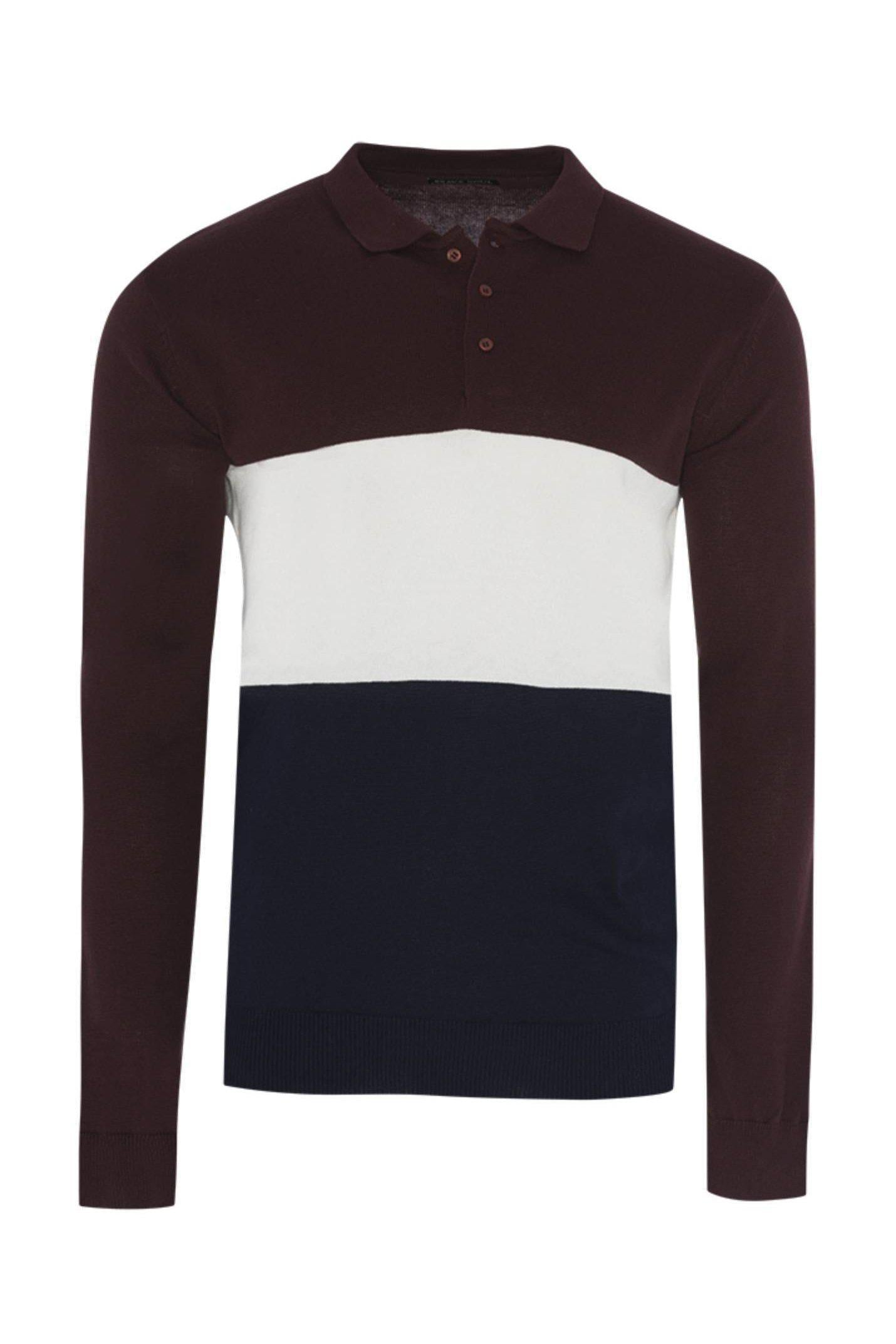 Polos - Contrast Knitted Polo Long Sleeve Burg