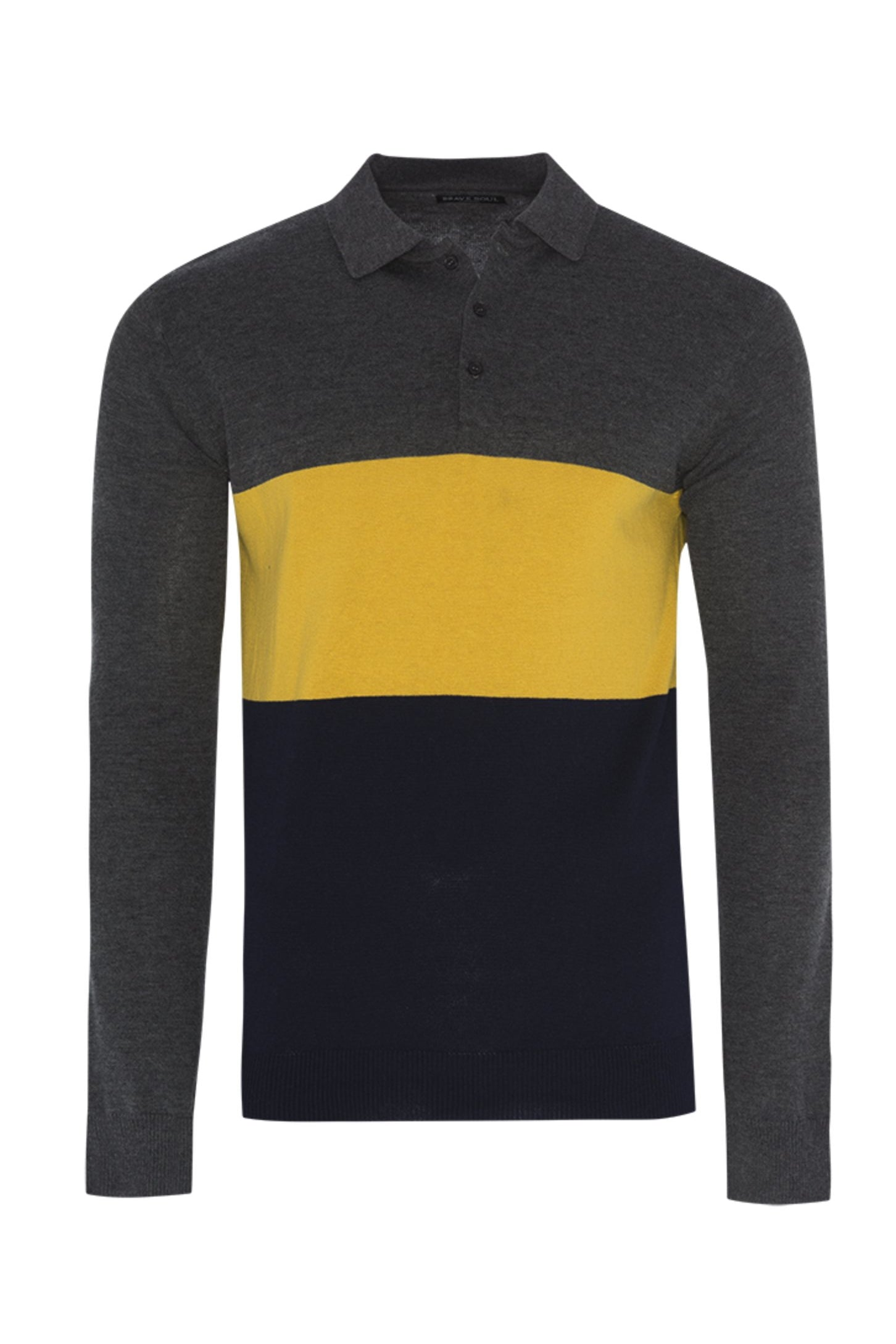 Polos - Contrast Knitted Polo Long Sleeve Charcoal
