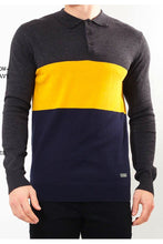 Load image into Gallery viewer, Polos - Contrast Knitted Polo Long Sleeve Charcoal