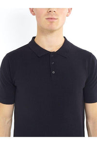 Polos - Lightweight Knitted Polo Short Sleeve Black