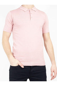 Polos - Lightweight Knitted Polo Short Sleeve Dusty Pink