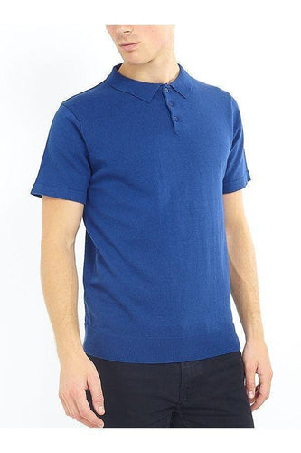 Polos - Lightweight Knitted Polo Short Sleeve French Blue