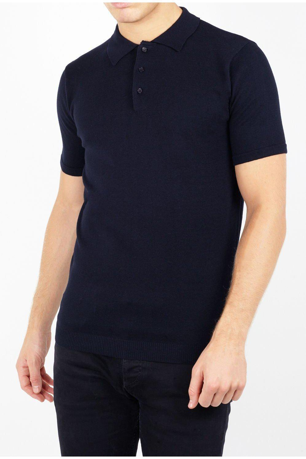 Polos - Lightweight Knitted Polo Short Sleeve Navy