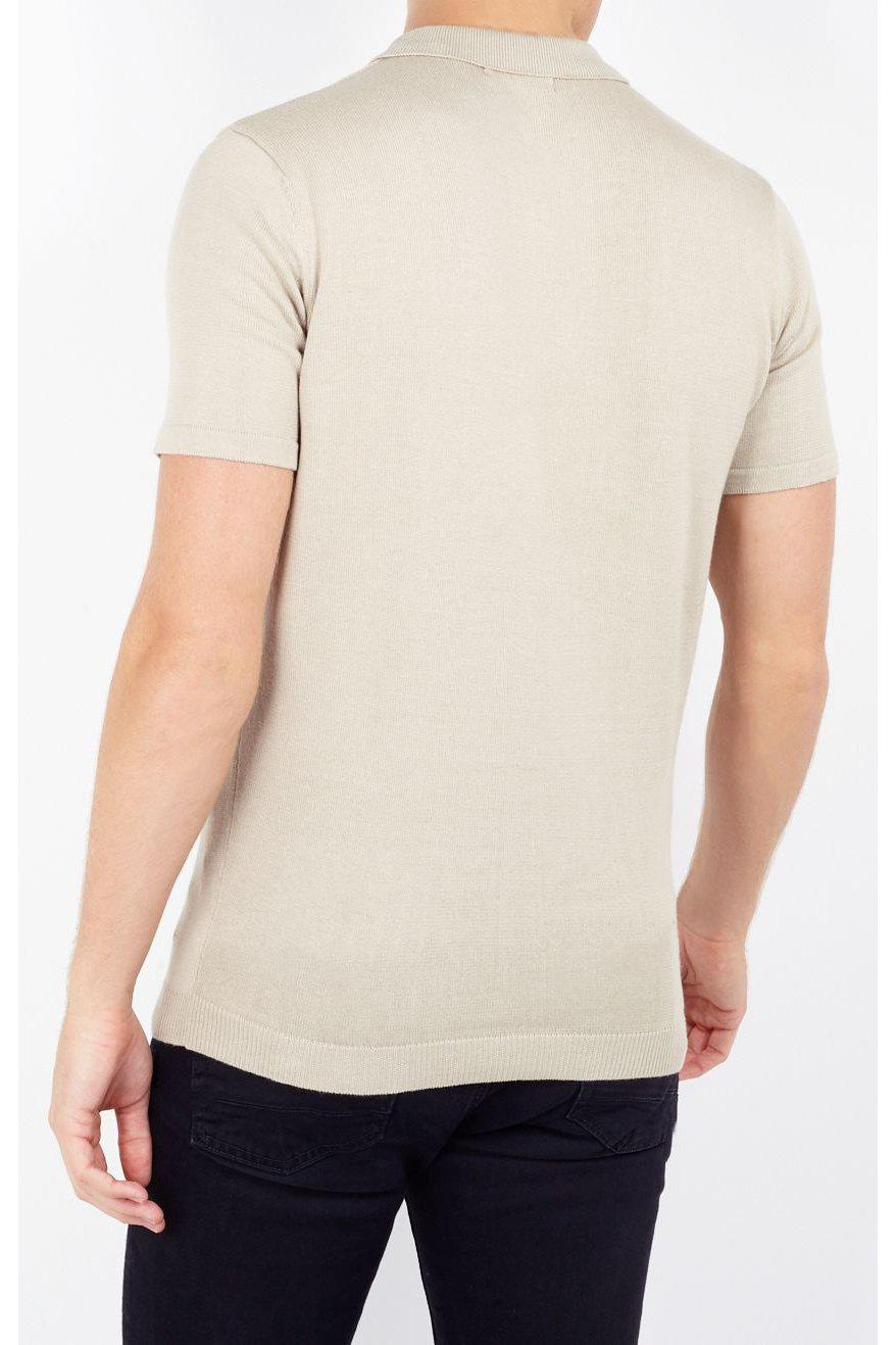 Polos - Lightweight Knitted Polo Short Sleeve Sand