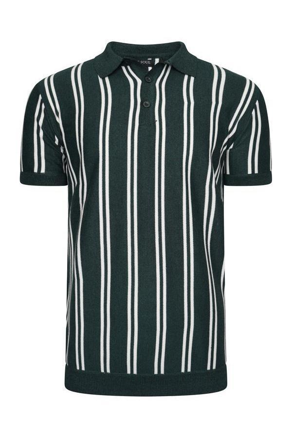 Polos - Vertical Stripe Knitted Polo Short Sleeve Green