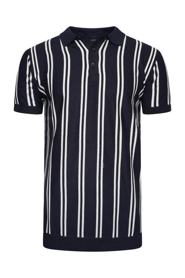 Polos - Vertical Stripe Knitted Polo Short Sleeve Navy