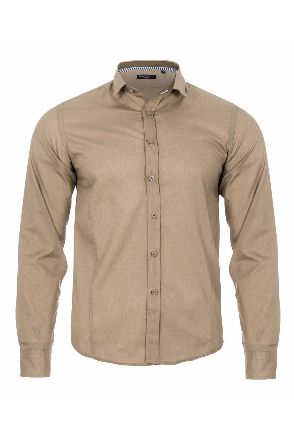 Shirts - Basic Fitted Shirt Stone