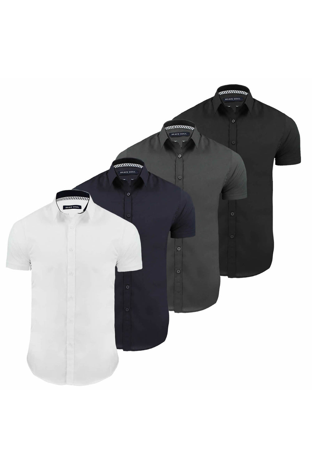 Shirts - Basic Fitted Short Sleeve Shirt Charcoal