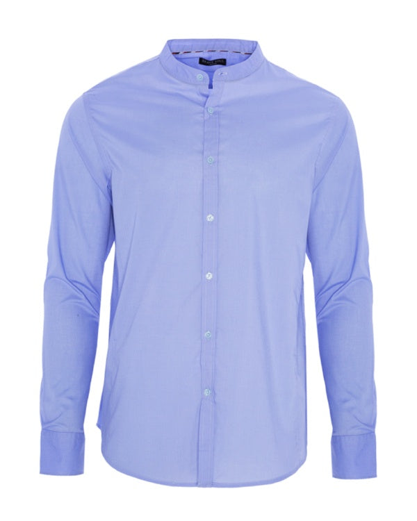 Shirts - Grandad Collar Shirt Dusty Blue