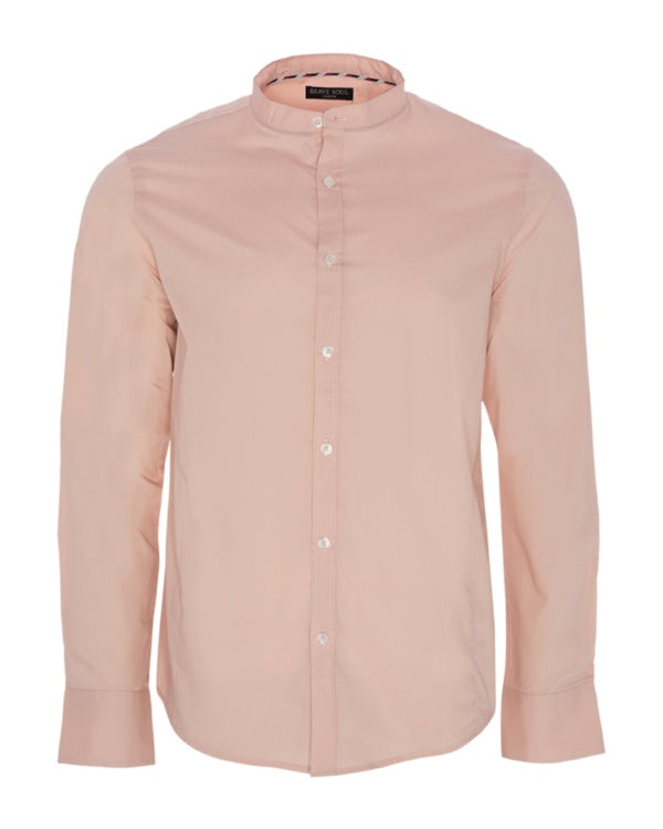Shirts - Grandad Collar Shirt Dusty Pink
