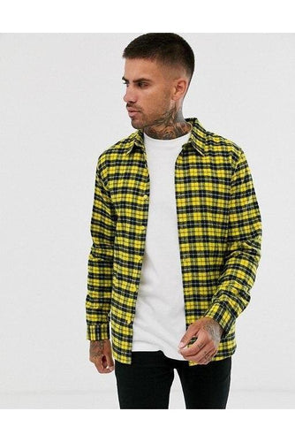 Shirts - Soft Flannel Shirt Check Yellow