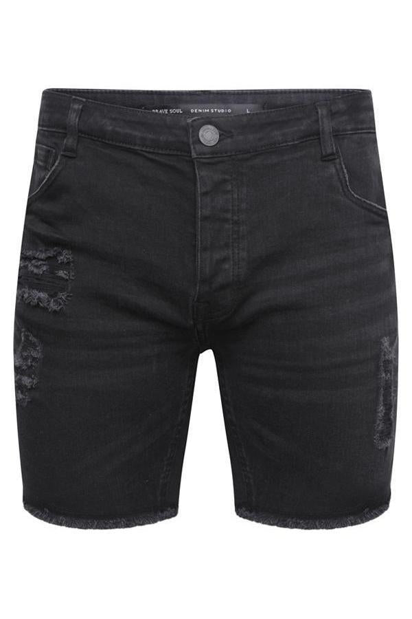 Shorts - Distressed Denim Shorts Black