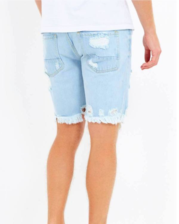 Shorts - Raw Edge Denim Shorts Blue