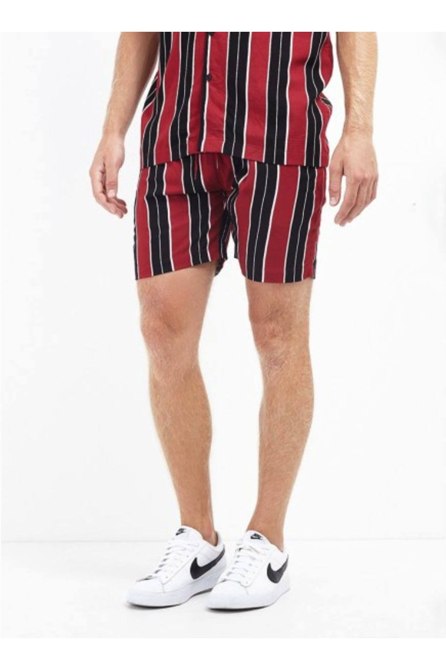 Shorts - Vertical Stripe Shorts Rock Red