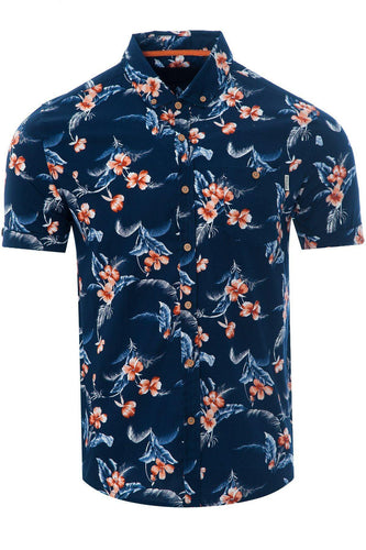 Soft Feel Hawaiian Shirt Navy