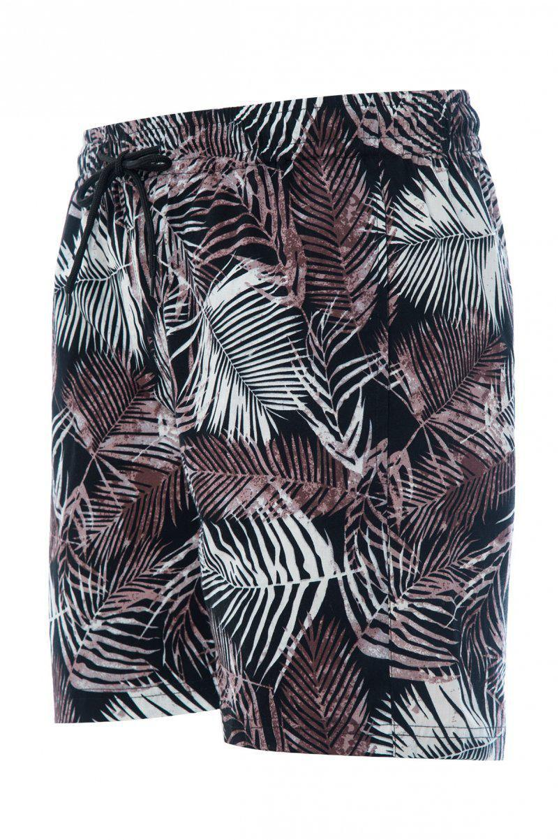 Soft Feel Leaf Shorts Black