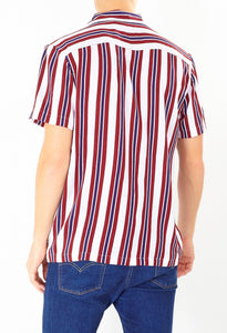 Soft Feel Vertical Stripe Shirt Burg