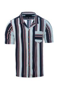 Soft Feel Vertical Stripe Shirt Dk Blue