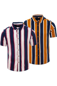 Soft Feel Vertical Stripe Shirt Navy / White