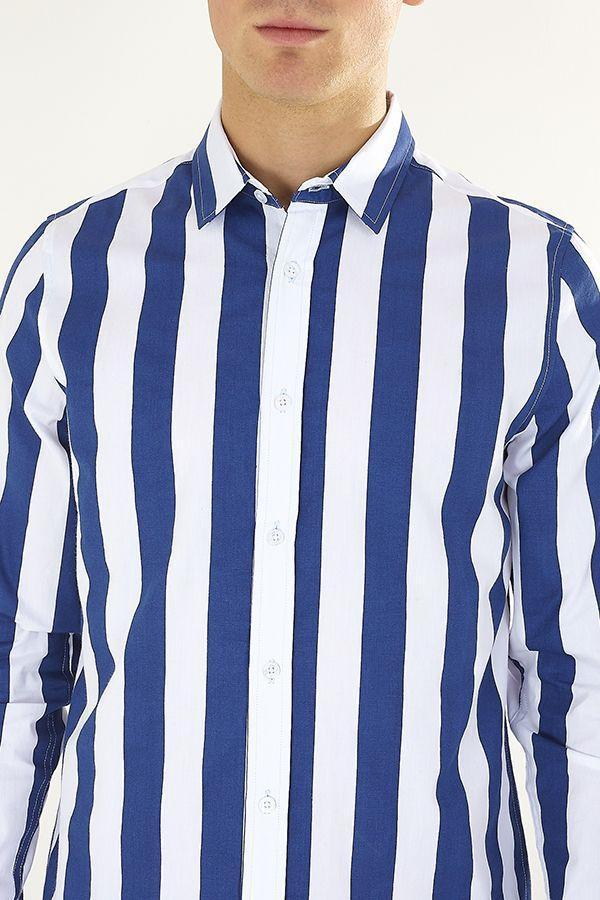 Stripe Shirt Long Sleeve Navy