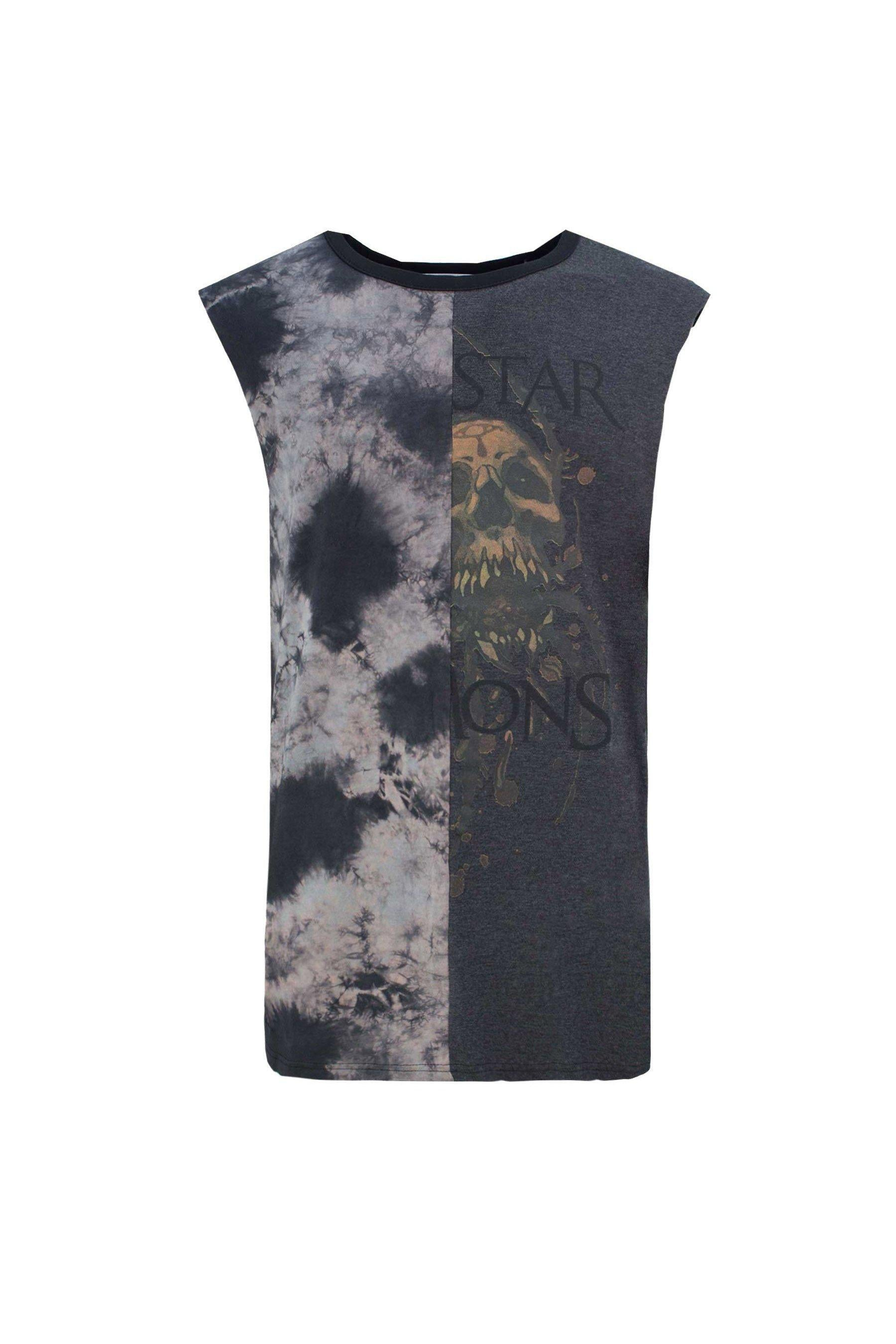 T-Shirts - Acid Wash Skull Tank Black