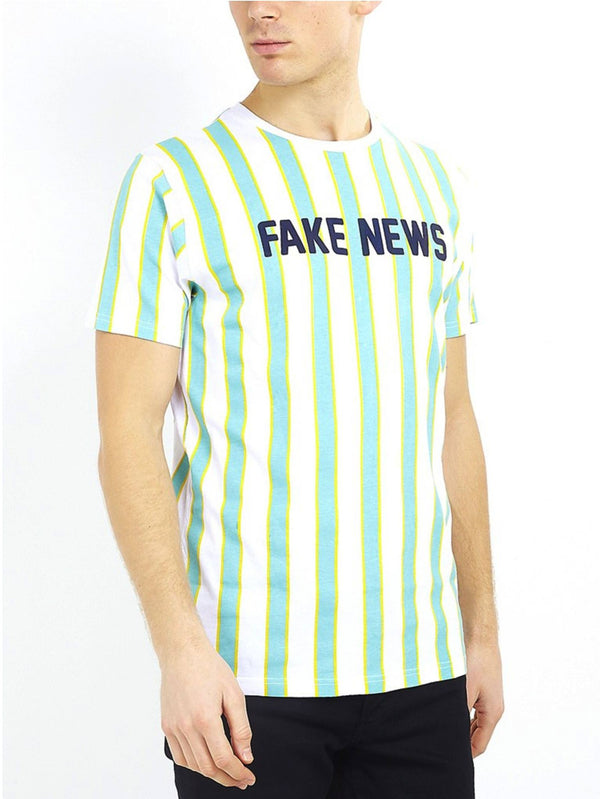 T-Shirts - Fake News Vertical Stripe Tee Mint