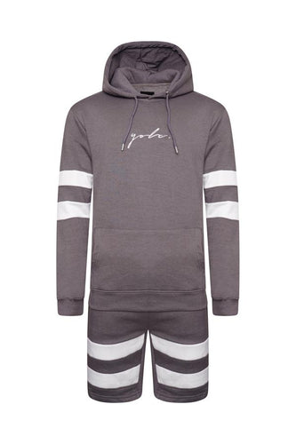 T-Shirts - Hoodie & Shorts Set Stripe Ash Grey