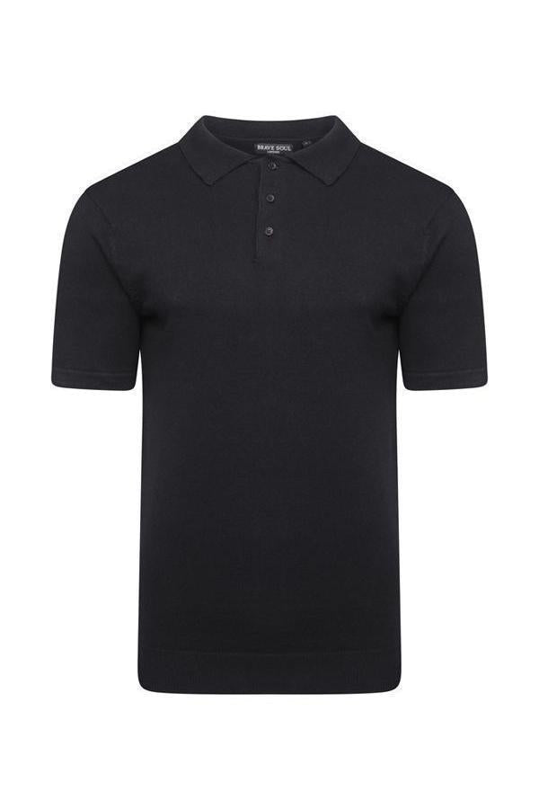 T-Shirts - Lightweight Knitted Polo Short Sleeve Black