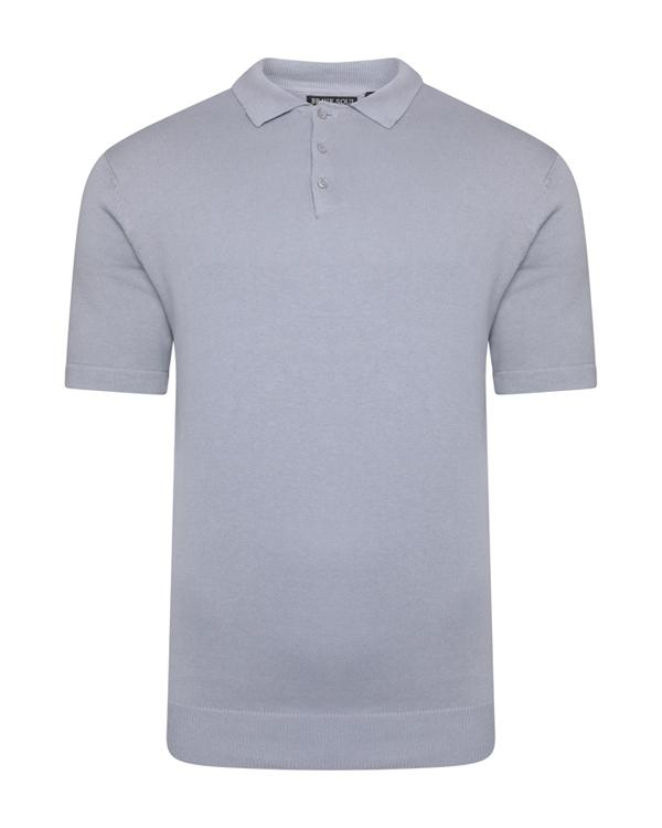 T-Shirts - Lightweight Knitted Polo Short Sleeve Dusty Blue