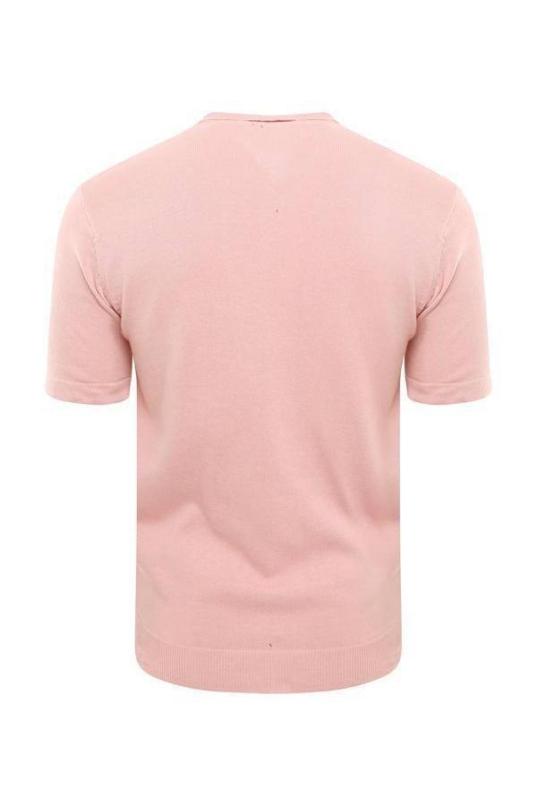 T-Shirts - Lightweight Knitted Polo Short Sleeve Dusty Pink