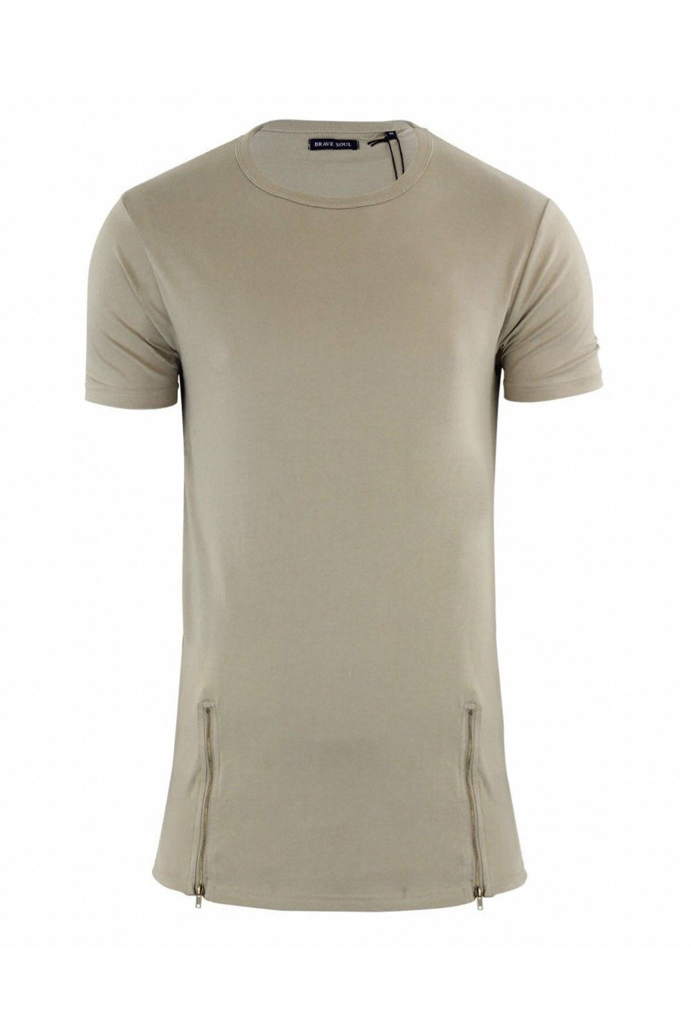T-Shirts - Longline Zip T-Shirt Light Khaki