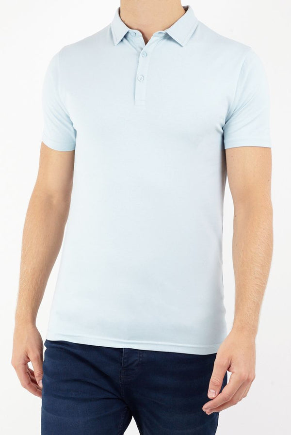 T-Shirts - Muscle Fit Polo Pastel Blue