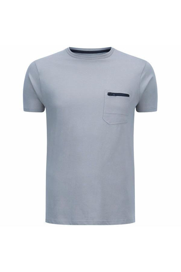 T-Shirts - Pocket Zip T-Shirt Dusty Blue
