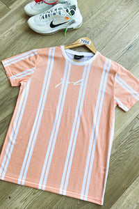 T-Shirts - Signature Stripe T-Shirt Peach/ White