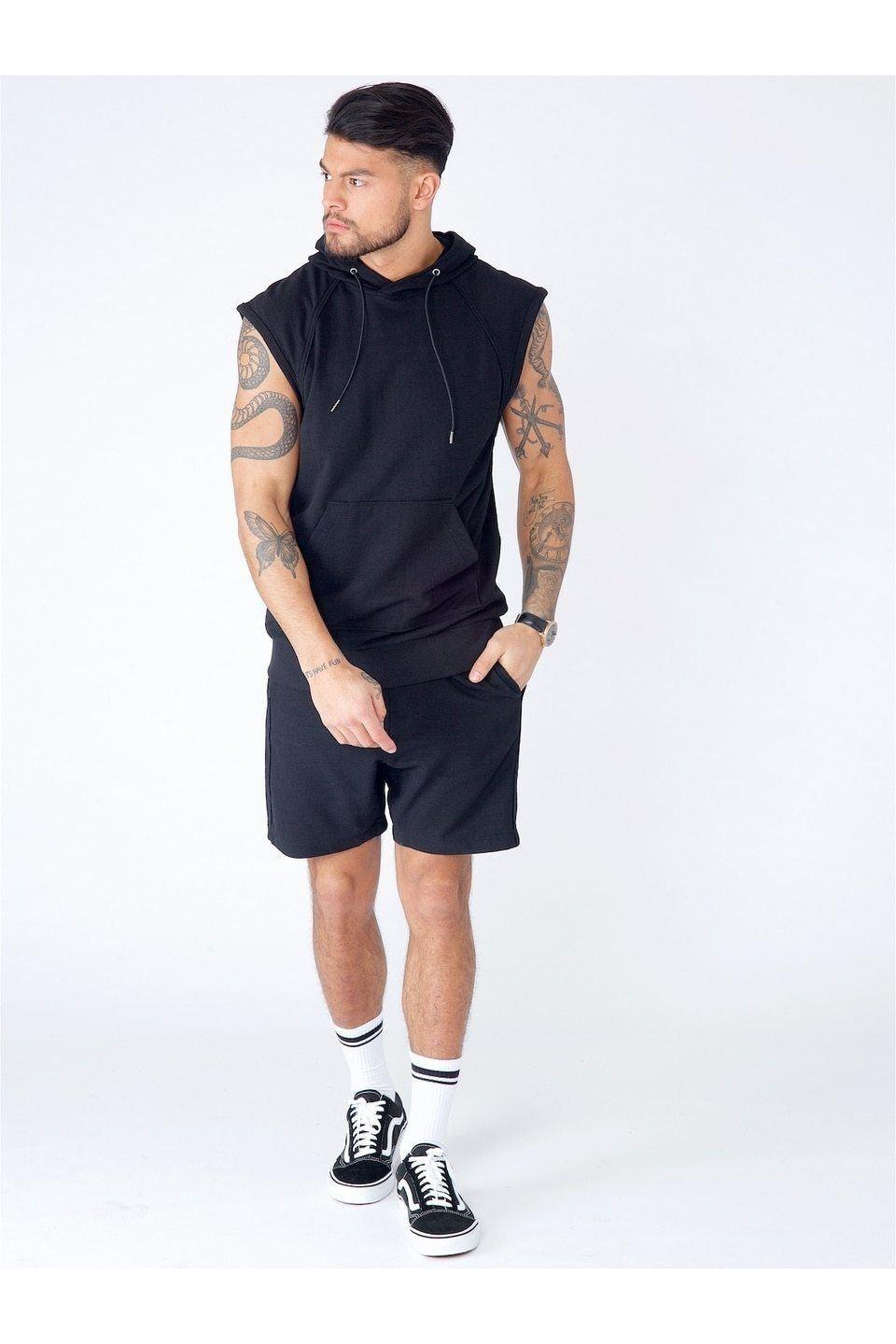 T-Shirts - Sleeveless Hoodie Black