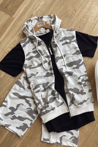 T-Shirts - Sleeveless Hoodie & Shorts Set Camo