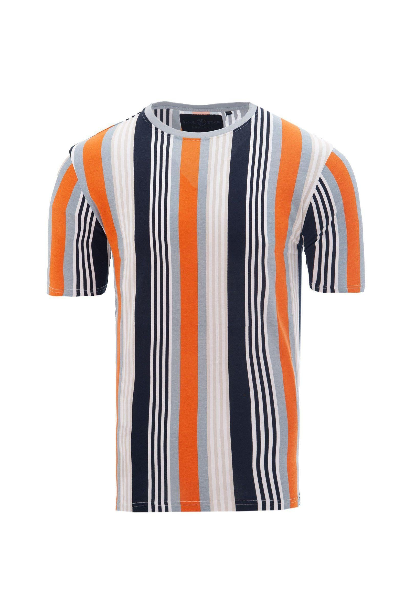 T-Shirts - Stripe T-Shirt Pastel Orange/ Navy