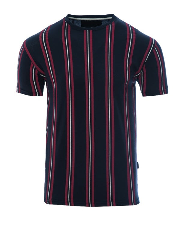 T-Shirts - Vertical Stripe T-Shirt Navy/ Burg