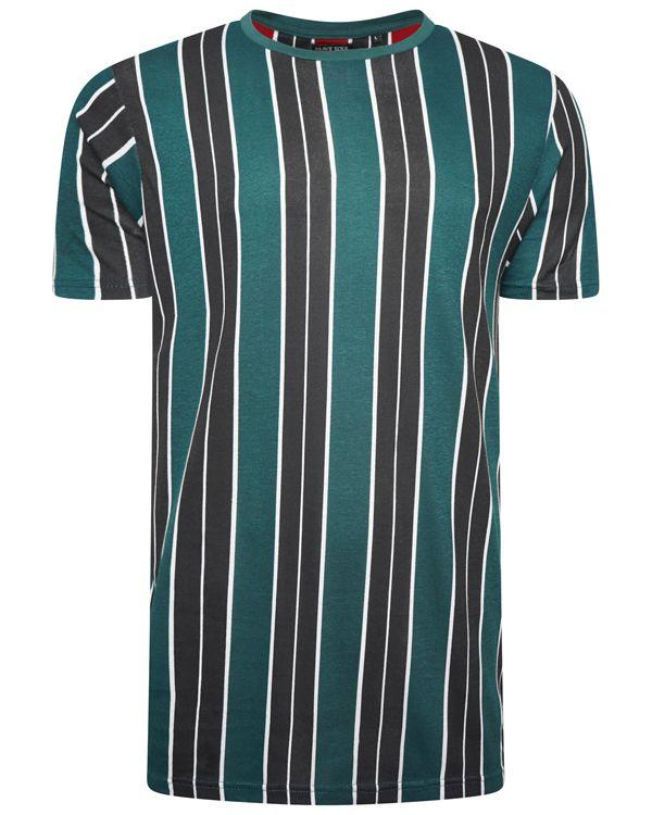T-Shirts - Vertical Stripe T-Shirt Navy/ Green