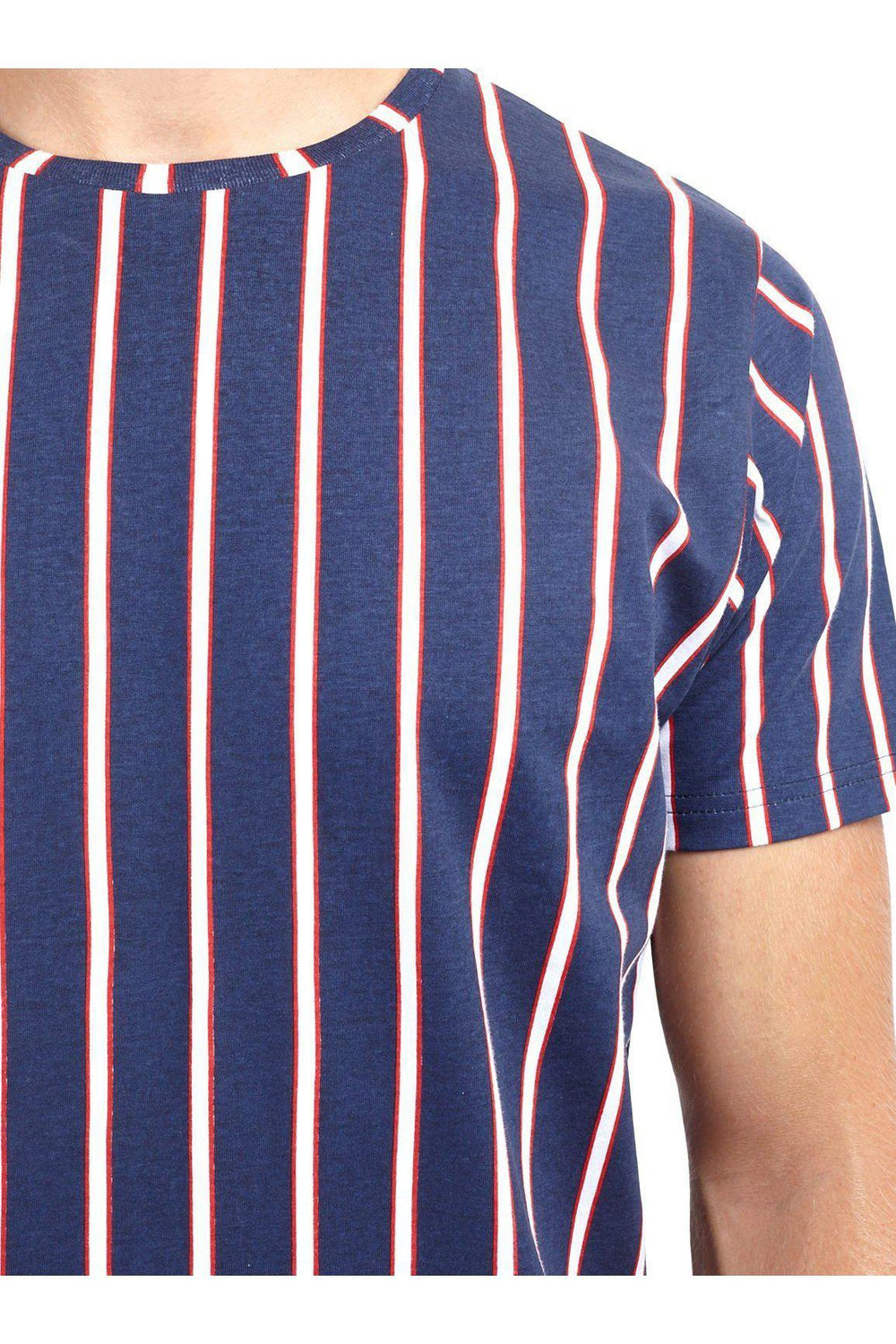 T-Shirts - Vertical Stripe T-Shirt Navy/ Red