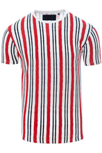 Load image into Gallery viewer, T-Shirts - Vertical Stripe T-Shirt White/ Red