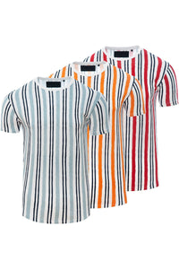T-Shirts - Vertical Stripe T-Shirt White/ Red