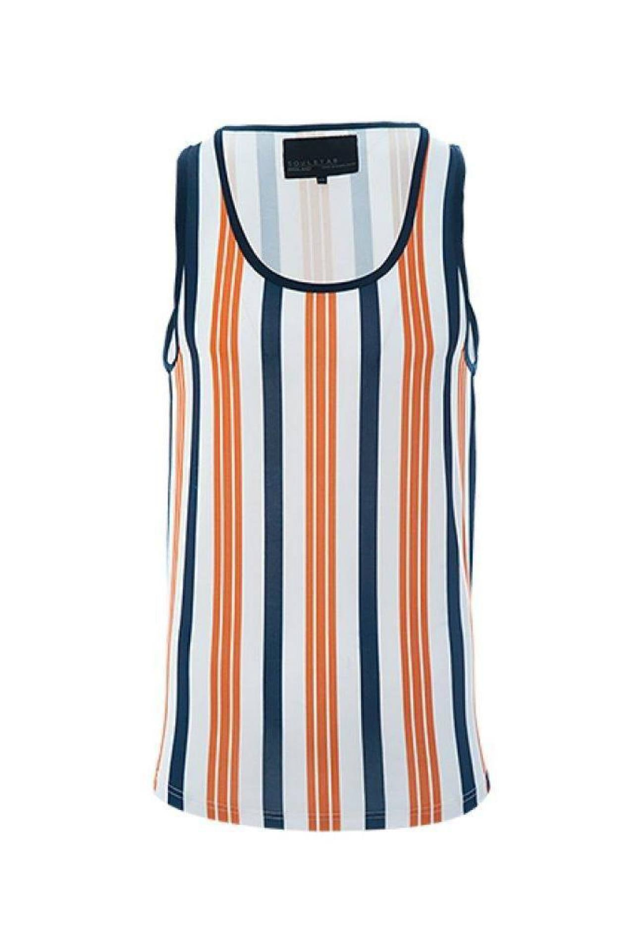 T-Shirts - Vertical Stripe Vest Orange