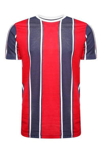 T-Shirts - Wide Vertical Stripe T-Shirt Navy/ Red